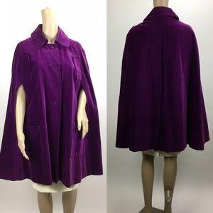Vintage Purple Velvet Cape Jacket
